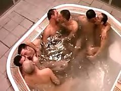 Triple twink couples engulf in jacuzzi