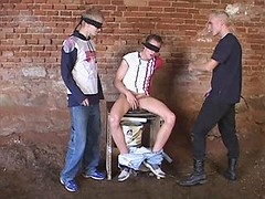 Sex fun with chained and blindfold gay submissive