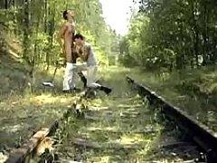 Nice twinks throat jocks in forest