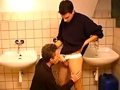 Double naughty homosexual guys taking in rods in public lavatory