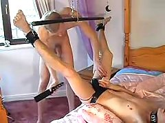 Chained gay submissive getting screwed