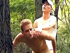 Curious boys try anal fucking in forest