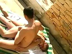 Blows his cock n spunk fountain outdoor