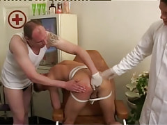 Gay doctor and gentleman fingering rigid hole by turns