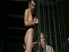 Bad fruit in cage sucks taut cock