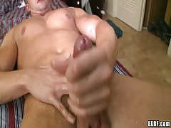 Ache gay fellow cums in couch
