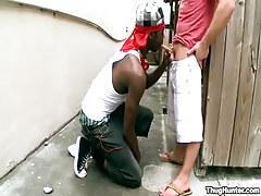 Interracial gay man-lovers suck outdoor