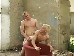 Naughty fairy-haired guys taking in and astonishingly bareback outdoor in 4 clip