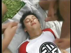 Intense bareback homo anal fucking action in a field in 6 movie scene