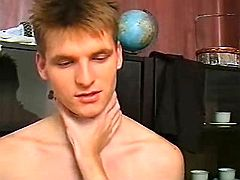 Boy pounds assistant doggy style and cums on his in the past