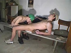 Young faggot coworkers doing some slurp job in office